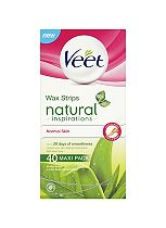 Veet Natural Inspirations Wax Strips with Aloe Vera for Normal Skin Wax Strips 40s