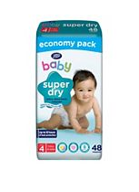 Boots Baby Super Dry Nappies Size 4 Maxi Economy Pack - 48 Nappies