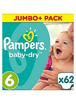 Pampers Baby-Dry Size 6 (Extra Large) Jumbo Plus Pack 64 Nappies