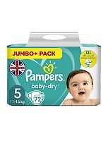 Pampers Baby-Dry Size 5 (Junior) Jumbo Plus Pack 72 Nappies