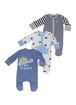 Mini Club Baby Boys Sleepsuits Dinosaurs 3 Pack