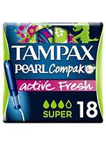 Tampax Compak Pearl Active Fresh Super Tampons Applicator 18x