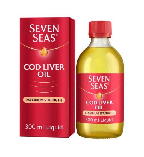 Seven Seas Simple Timeless Omega-3 Fish Oil Plus Cod Liver Oil Maximum Strength - 300ml