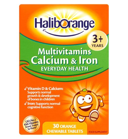 Haliborange Kids Multivitamins Calcium & Iron 3-12yrs - 30 Orange Flavour Chewable Tablets