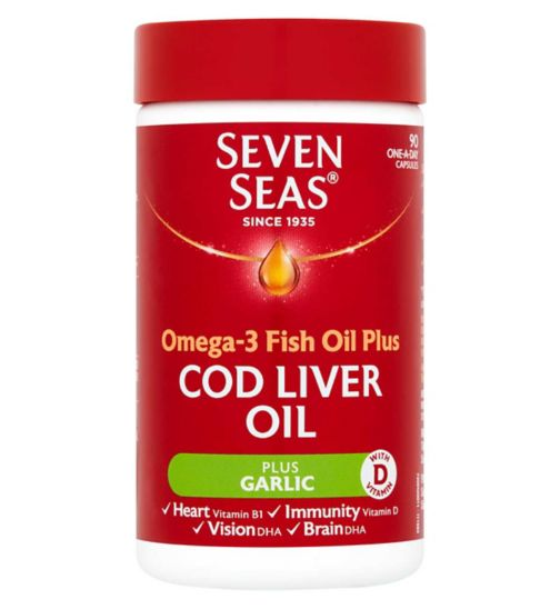 Seven Seas Omega-3 Fish Oil Plus Cod Liver Oil + Garlic - 90 One-A-Day Capsules