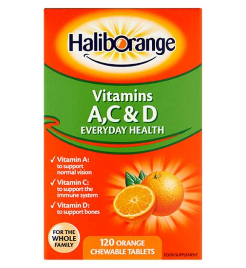 Haliborange Vitamins A, C & D - 120 Orange Flavour Chewable Tablets