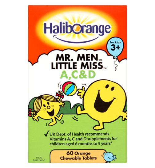 Haliborange Mr. Men Little Miss Vitamins A, C & D - 60 orange chewable tablets