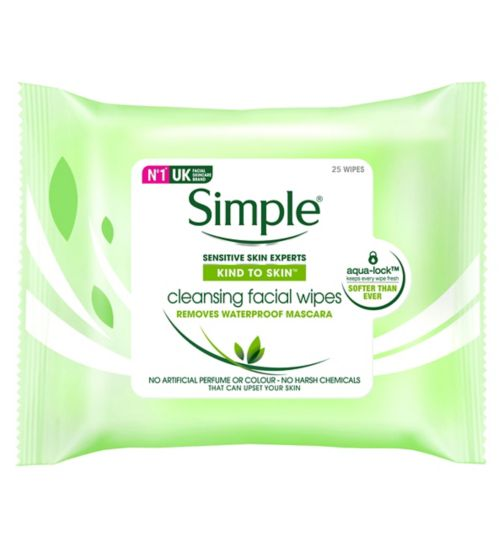 Simple Kind To Skin Facial Cleansing Wipes 25 pack