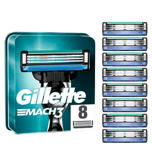 <p>Gillette Mach 3  Replacement Razor Blades - 8 Pack</p>