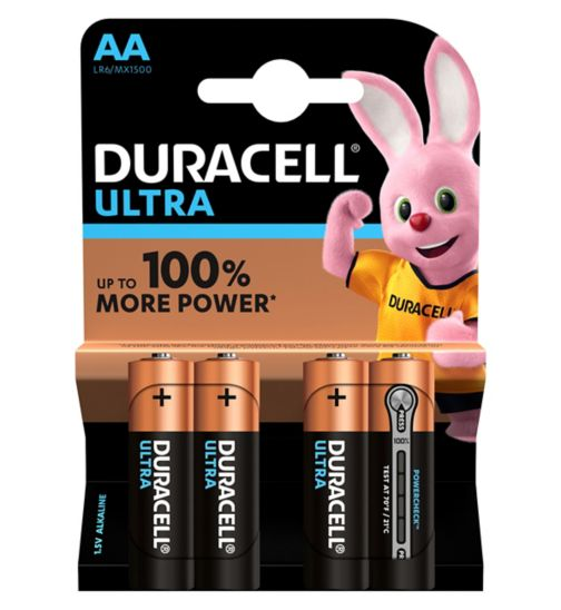 Duracell Ultra Power AA Alkaline Batteries - 4x pack