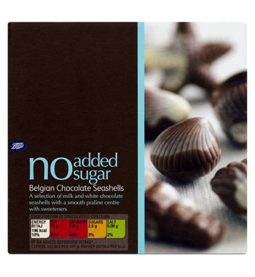 Boots No Added Sugar Belgian Chocolate Seashells - 130g
