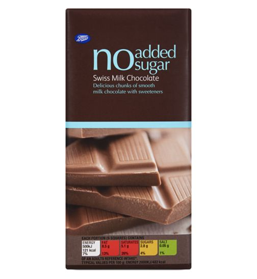 Boots No Added Sugar Swiss Milk Chocolate