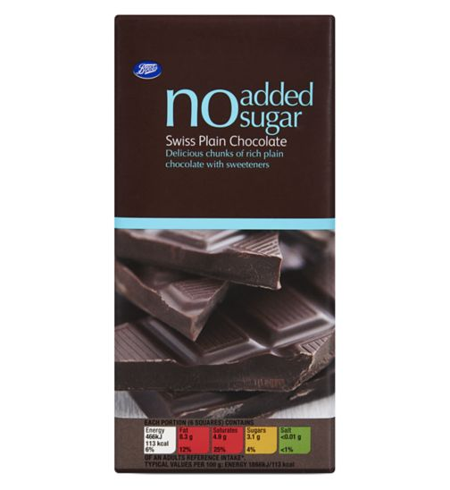 Boots No Added Sugar Swiss Plain Chocolate 100g