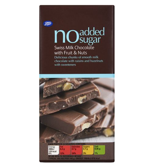 Boots No Added Sugar Swiss Milk Chocolate with Fruit & Nuts 100g