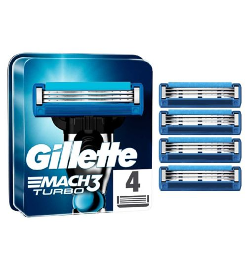 <p>Gillette Mach 3 Turbo Replacement Blades 4 Pack</p>