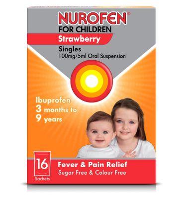 Nurofen For Children Strawberry Singles 100mg/5ml Oral Suspension - 16  Sachets