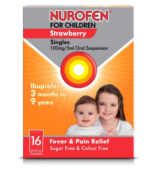 <p>Nurofen For Children Singles Strawberry Flavour - 16 Sachets</p>
