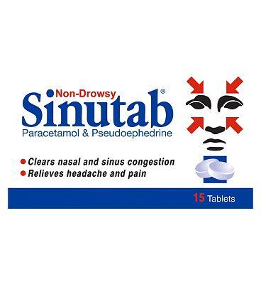 Sinutab Non-Drowsy - 15 tablets
