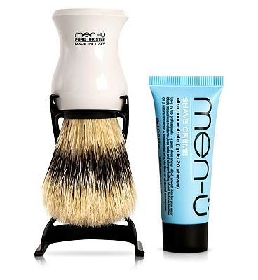 Menu barbiere pure bristle shaving brush with white stand and free 15ml buddy tube of Menu shave crème.