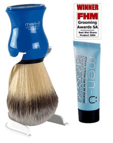 <p>Men-u Premier Shaving Brush blue with stand and free 15ml buddy tube of Men-u Shave Cr&egrave;me</p>