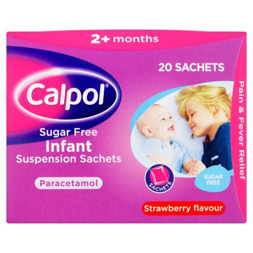 Calpol Sugar Free Suspension Sachets Strawberry Flavour 2+ Months 20x5ml sachets