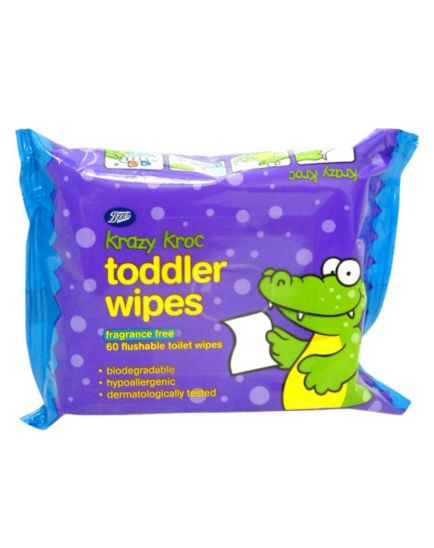 Boots Krazy Kroc Fragrance Free Toddler Wipes - 1 x 60 Pack Wipes