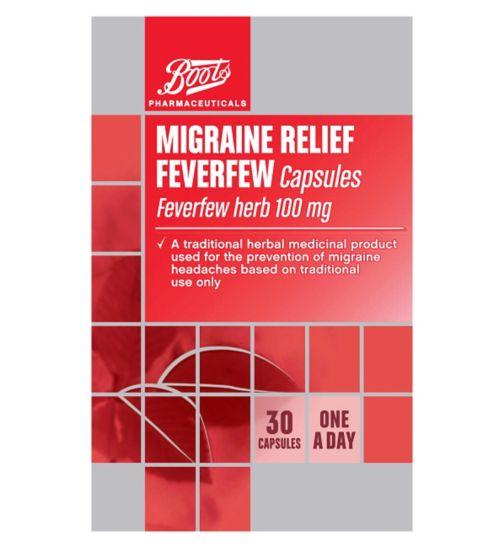 Boots Pharmaceuticals Migraine Relief Feverfew Capsules  - 30 Capsules