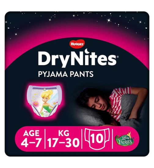 Huggies DryNites Pyjama Bed Wetting Pants Girls 4-7 Years - 10 Pants