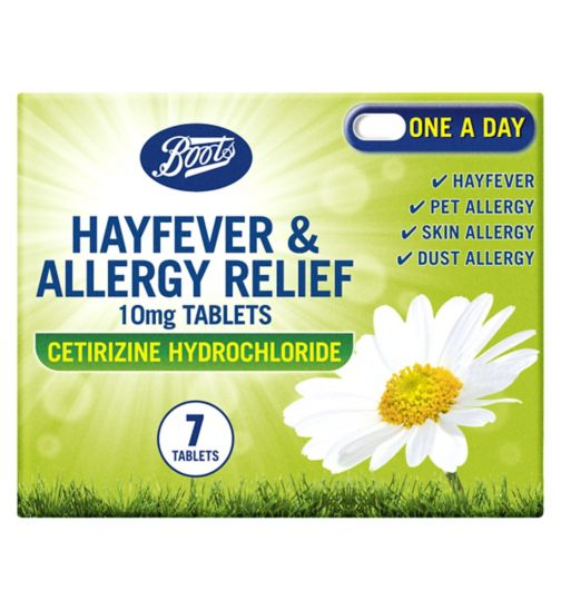 Boots Pharmaceuticals Hayfever & Allergy Relief 10mg Tablets Cetirizine Hydrochloride (7 tablets)