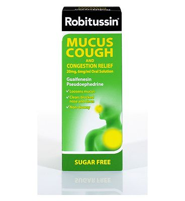 Robitussin MUCUS COUGH AND CONGESTION RELIEF 20mg, 6mg/ml Oral Solution 100ml SUGAR FREE