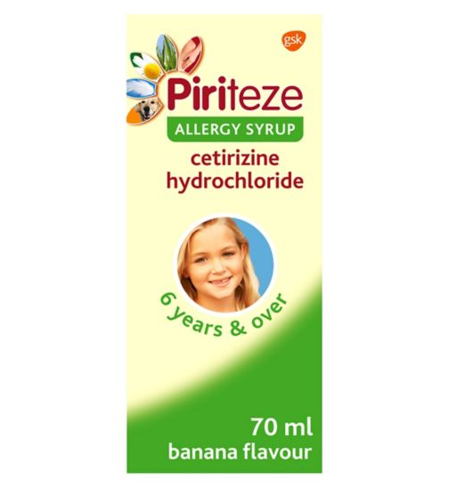 Piriteze Allergy Syrup Sugar Free Banana Flavour 70ml