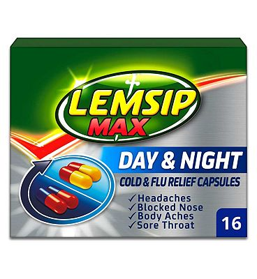 Lemsip Max Day and Night Cold and Flu Relief Capsules - 2 x 8 Capsules