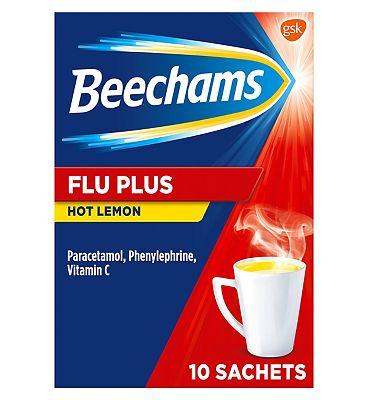 Beechams Cold and Flu Hot Drink Sachets Flu Plus Hot Lemon Flavour 10s