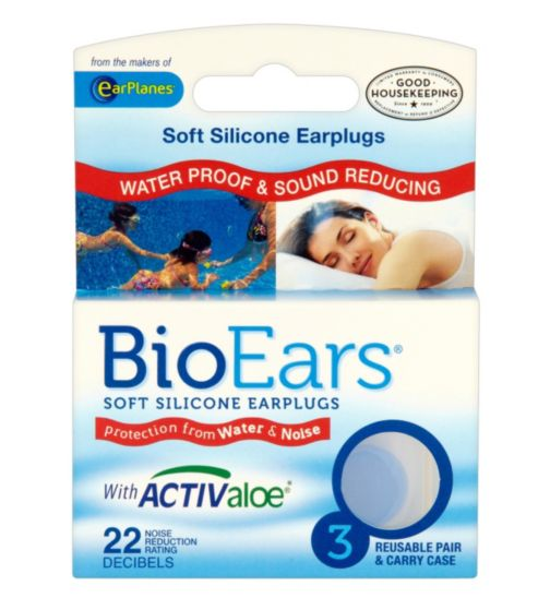 BioEars Soft Silicone Earplugs with activ aloe - 3 pairs