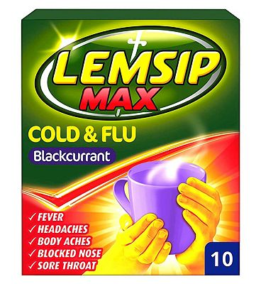 Lemsip Max Cold and Flu relief - Blackcurrant flavour - 10 sachets