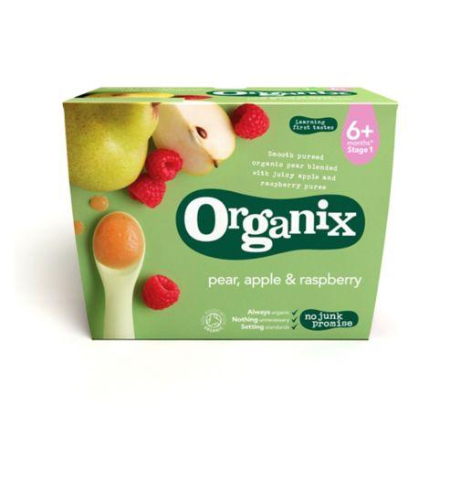 Organix Pear, Apple & Raspberry 4+ Months Stage 1 4 x 100g