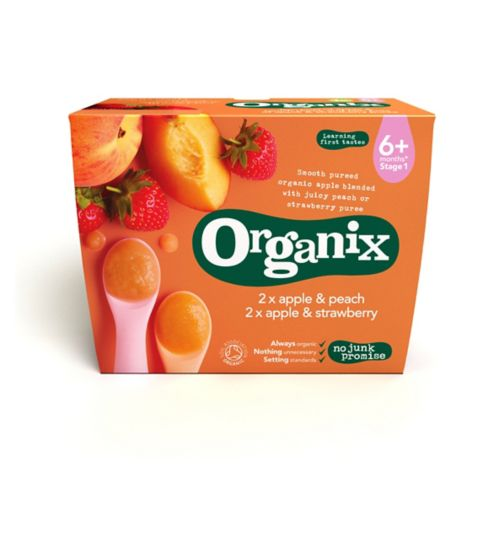 Organix Apple & Peach Apple & Strawberry 6+ months Stage 1 4 x100g