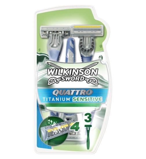 <p>Wilkinson Sword Quattro Titanium Disposable Razors 3 pack</p>