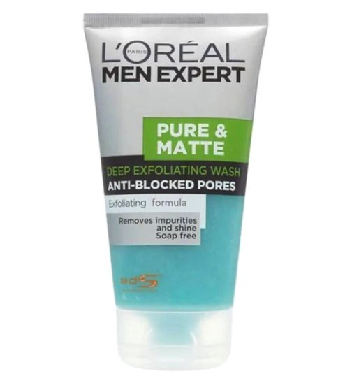L'Oreal Men Expert Pure & Matt Exfoliating Face Wash 150ml