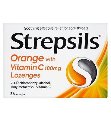 Strepsils Orange with Vitamin C (100mg) Lozenges - 36 Lozenges