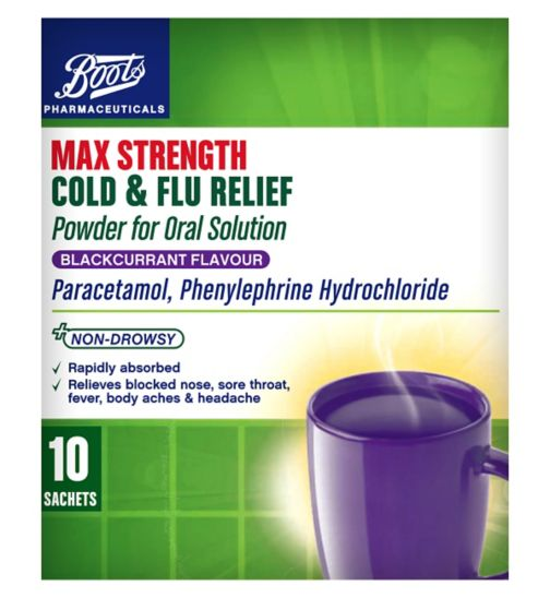 Boots Pharmaceuticals Max Strength Cold & Flu Relief Blackcurrant Flavour Powder for Oral Solution - 10 Sachets