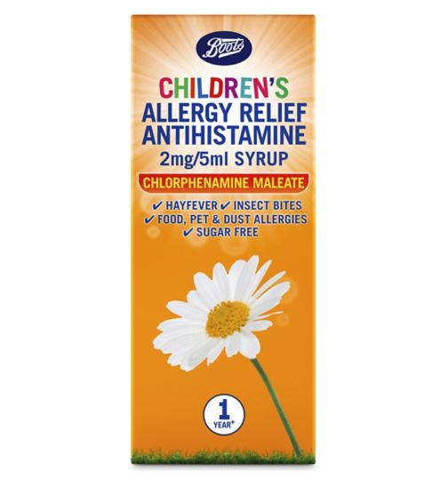 Boots Pharmaceuticals Allergy Relief 1 Year Plus Antihistamine 2mg/5ml  Syrup