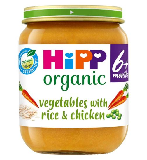 HiPP Organic Vegetables with Rice & Chicken Stage 1 4+ Months 125g