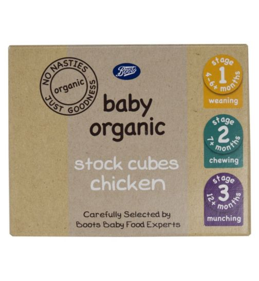Boots Baby Organic Stock Cubes Chicken Stage 1, 2 & 3 From 4-6mths+ 48g
