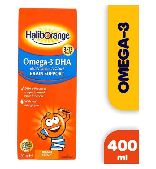 Haliborange Kids Omega-3 with Vitamins A C D & E 3-12Yrs Orange Syrup - 400ml