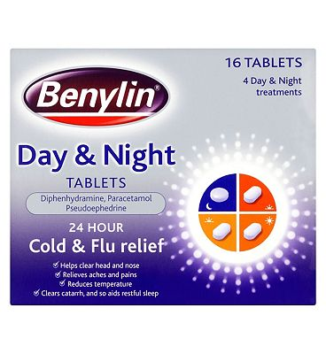 Benylin 24 Hour Cold and Flu Relief Day and Night Tablets - 16 Tablets