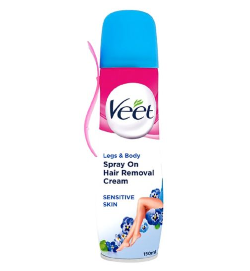 Veet Spray on Hair Removal Cream with Aloe Vera & Vitamin E for Sensitive Skin 150ml