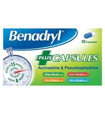 Benadryl Allergy Plus - 12 capsules