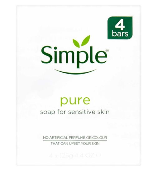 <p>Simple Pure Soap Bar for Sensitive Skin 4 x 125g</p>