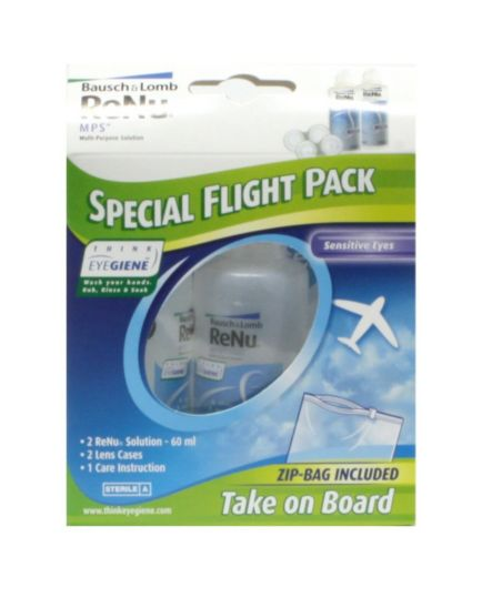 <p> Bausch & Lomb ReNu multi-purpose solution Special&nbsp;Flight Pack</p>